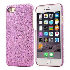 Luxury Bling Leather Coated Hard Cover Protective Case for iPhone 8 4.7inch - Light Purple