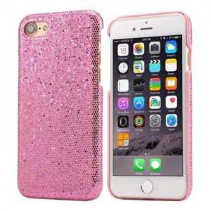 Luxury Bling Leather Coated Hard Cover Protective Case for iPhone 8 4.7inch - Pink