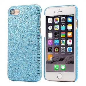 Luxury Bling Leather Coated Hard Cover Protective Case for iPhone 8 4.7inch - Sky blue