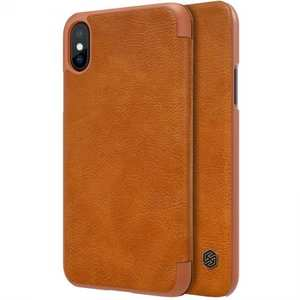 Nillkin Qin Series Flip Leather Card Slot Case Cover For iPhone X - Brown