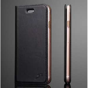 Oil Wax Real Genuine Leather Stand Wallet Flip Case for iPhone 8 Plus 5.5 inch - Black