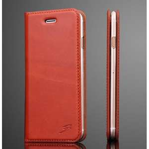Oil Wax Real Genuine Leather Stand Wallet Flip Case for iPhone 8 Plus 5.5 inch - light brown