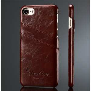 Oil Wax Style Insert Card Leather Back Case Cover for iPhone 8 4.7 inch - Wine Red