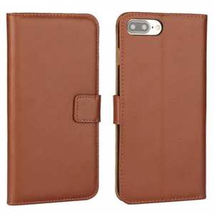 Real Genuine Leather Side Flip Wallet Case Cover for iPhone 8 4.7 inch - Brown