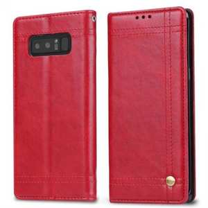 Retro Oil Wax Leather Kickstand Wallet Folio Cover Case for Samsung Galaxy Note 8 - Red