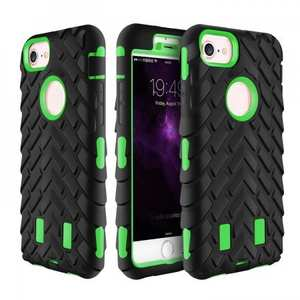 Shock Absorption Hybrid Dual Layer Armor Defender Protective Case for iPhone 8 Plus - Green