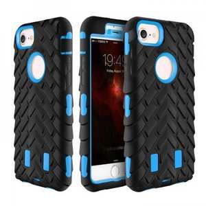 Shock Absorption Hybrid Dual Layer Armor Defender Protective Case for iPhone 8 Plus - Light blue