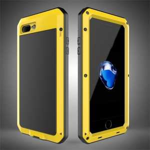 Shockproof Aluminum Metal Cover & Gorilla Glass Screen Protector Case for iPhone 8 Plus - Yellow