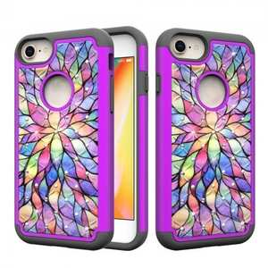 Diamond Bling Defender Hybrid Protective Case Cover For iPhone 8 - Purple & Flower