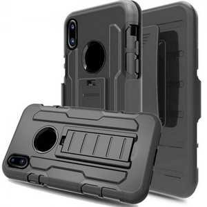 3 in 1 Rugged Shockproof Armor Case +Belt Clip Holster Kickstand Cover For iPhone X