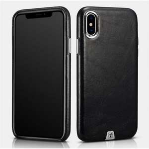 ICARER Genuine Leather Back Case Cover for iPhone X - Black