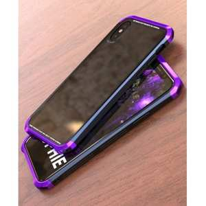 Aluminum Frame + Transparent Tempered Glass Shockproof Case For iPhone XS / X - Purple&Black