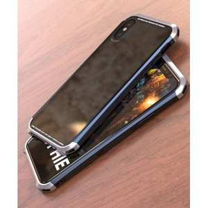 Aluminum Frame + Transparent Tempered Glass Shockproof Case For iPhone XS / X - Silver&Black