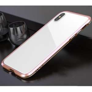 Premium Dual Color Aluminum Metal Frame Case for iPhone XS / X - Rose Gold&Silver