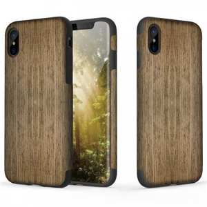 Rose Non Slip Natural Wood and TPU Rubber Soft Case for iPhone X - Black Rose