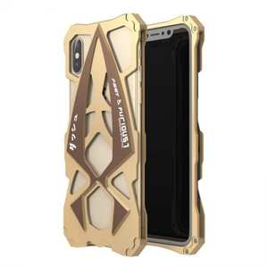 Sports Car Style Aluminum Metal Shockproof Case for iPhone XS / X - Gold&Brown