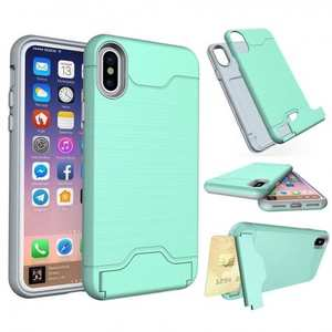 Case For iPhone 10 X Slim Kickstand Credit Card Slot Brushed Hard Armor Cover - Green