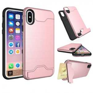 Case For iPhone 10 X Slim Kickstand Credit Card Slot Brushed Hard Armor Cover - Rose Gold
