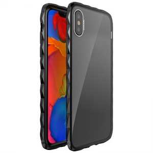 Diamond Pattern Aluminum Bumper + Transparent Acrylic Back Cover Case for iPhone XS / X - Black