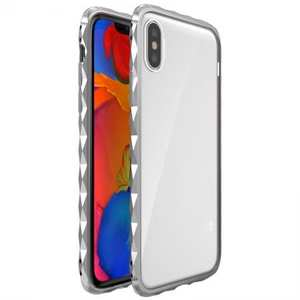 Diamond Pattern Aluminum Bumper + Transparent Acrylic Back Cover Case for iPhone XS / X - Silver