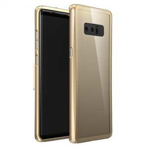 Luxury Aluminum Bumper Transparent Tempered Glass Case For Samsung Galaxy Note 8 - Gold