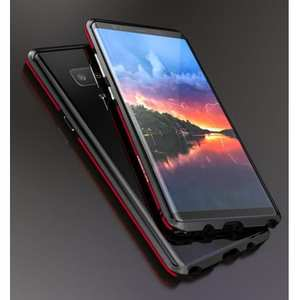 Luxury Slim Dual-Color Aluminum Metal Frame Case for Samsung Galaxy Note 8 - Black&Red