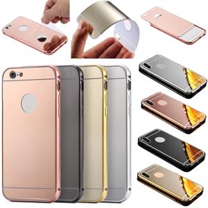 Luxury Aluminum Metal Bumper Mirror Back Case Cover for iPhone 6 6 Plus 7 7 Plus / 8 8 Plus X
