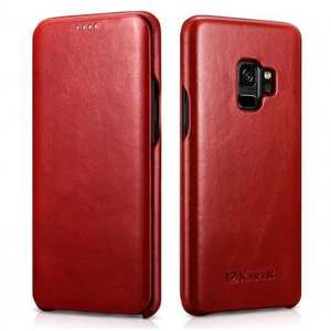 ICARER Curved Edge Vintage Genuine Leather Flip Case For Samsung Galaxy S9 - Red