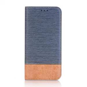 Cross Pattern Crazy Horse Leather Flip Stand Case for Samsung Galaxy S9 - Dark Blue