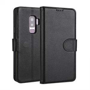Genuine Leather Wallet Flip Case Stand Credit Card for Samsung Galaxy S9+ Plus - Black