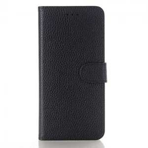 Litchi Grain PU Leather Flip Stand Case Cover with Card Slot for Samsung Galaxy S9 - Black