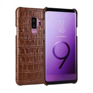 Luxury Genuine Real Leather Crocodile Back Case Cover For Samsung Galaxy S9 - Brown