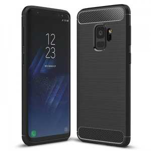 Ultra Thin Flexible TPU Cover Carbon Fiber Hybrid Case for Samsung Galaxy S9 - Black