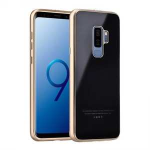 Aluminum Metal bumper + Tempered glass Cover Case for Samsung Galaxy S9 Plus - Gold&Black