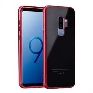 Aluminum Metal bumper + Tempered glass Cover Case for Samsung Galaxy S9 Plus - Red&Black