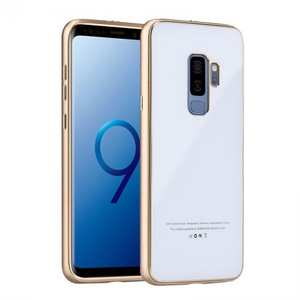 Aluminum Metal Tempered Glass Shockproof Case for Samsung Galaxy S9 - Gold&White