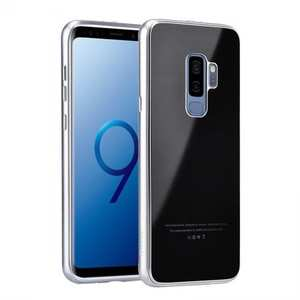 Aluminum Metal Tempered Glass Shockproof Case for Samsung Galaxy S9 - Silver&Black
