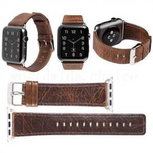 Crazy Horse Leather Replacement Wrist Strap for Apple Watch Band 38mm 42mm Series 3/2/1 - Coffee