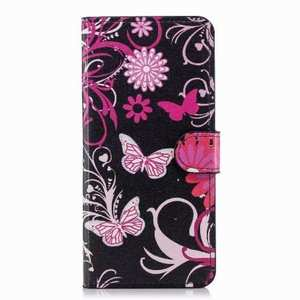 Pink Butterfly Pattern Wallet Style Stand Leather Case For Samsung Galaxy S9 Plus