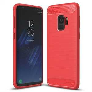 Ultra Thin Flexible TPU Cover Carbon Fiber Hybrid Case for Samsung Galaxy S9 - Red