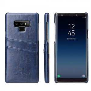 Oil Wax Leather Card Holder Back Case Cover for Samsung Galaxy Note 9 - Dark Blue
