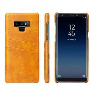 Oil Wax Leather Card Holder Back Case Cover for Samsung Galaxy Note 9 - Yellow