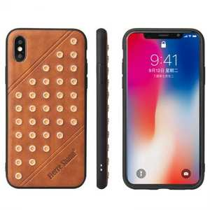 Rivet Design Leather Soft TPU Back Case Cover for iPhone X - Brown