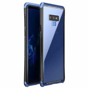 Aluminum PC Transparent Tempered Glass Hybrid Case For Samsung Galaxy Note 9 - Black&Blue
