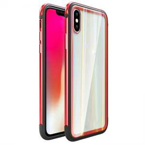 Shockproof Aluminum TPU Glass Hybrid Shield Case for iPhone 7/7 Plus/8/8 Plus iPhone X