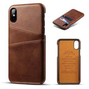 Case For iPhone XR Max Vintage Leather Wallet Card Slot Holder Back Cover - Dark Brown