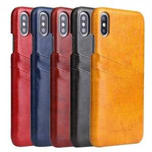 Case for iPhone XS Max Oil Wax Leather Credit Card Holder Back Cover