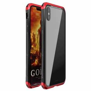 For iPhone XS Hybrid Aluminum + PC Bumper Transparent Tempered Glass Case - Black&Red