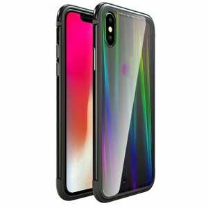 For iPhone XS Max Shockproof Aluminum Glass TPU Case - Black