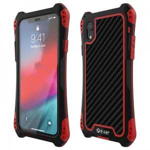 For iPhone XS Max Aluminum Metal TPU Shockproof Carbon Fiber Case - Black Red